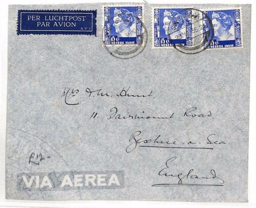 BF198 1935 DUTCH EAST INDIES Soerabaja GB BexhillonSea Airmail Cover