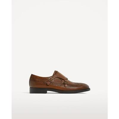 BNWT ZARA MAN BROWN LEATHER MONK  SHOES  REF.5035/102