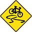 SLIPPERY-FOR-CYCLISTS-W5-V104-SELF-ADHESIVE-STICKER-DECAL-SIGN-HEALTH thumbnail 2
