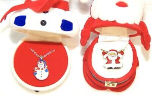 CHILDS-CHRISTMAS-SNOWMAN-NECKLACE-BONUS-SANTA-NECKLACE-IN-MATCHING-BOXES
