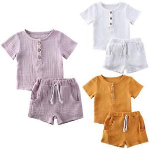 Baby-Kids-Boys-Girls-Short-Sleeve-Cotton-Linen-Elastic-T-Shirt-Tops-Shorts-Set