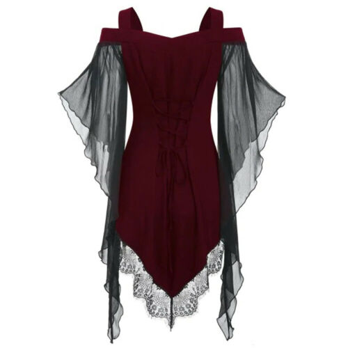Womens Steampunk Victorian Gothic Tops Lace Up Batwing Sleeve Blouse T-Shirt US