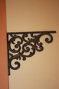 "8 BROWN ANTIQUE-STYLE 9.5/"" SHELF BRACKETS CAST IRON rustic garden FANCY ORNATE"