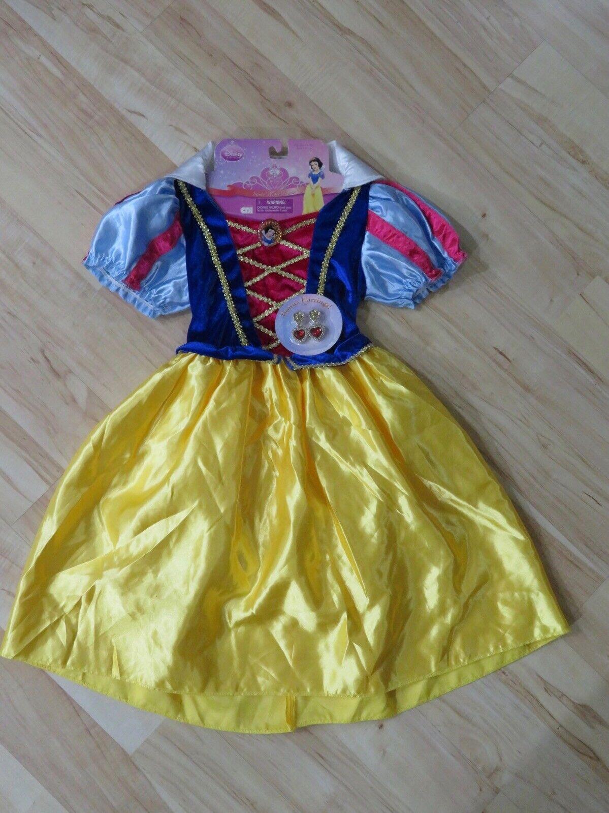 New Girl's Snow White Disney Princess Halloween Costume & Earrings Size 4/6X