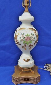 Antique-Bohemian-Moser-Frosted-Satin-Glass-Enamel-FLOWERS-Gold-Table-Lamp-5251