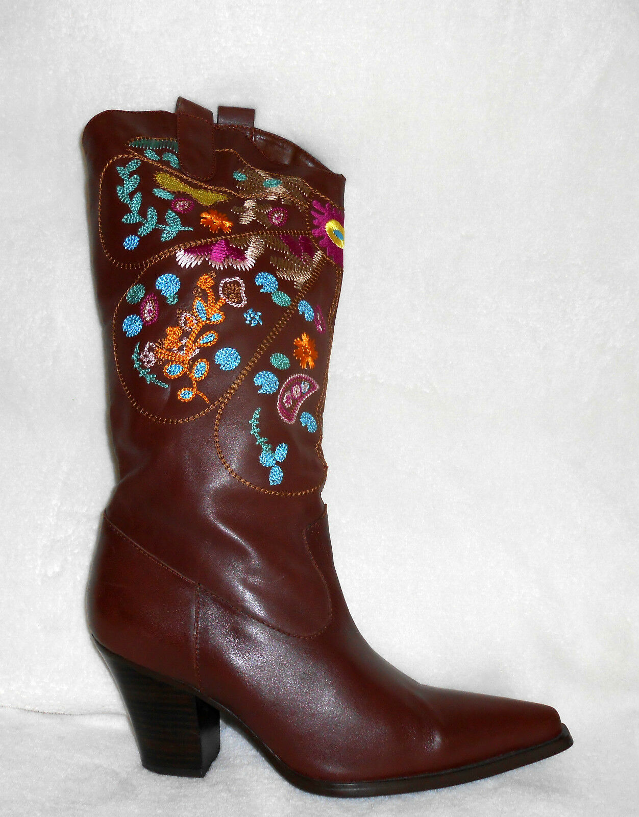 TWO LIPS BROWN LEATHER KNEE HIGH MULTI-colorD EMBROIDERED BOOTS, SZ 9, NICE