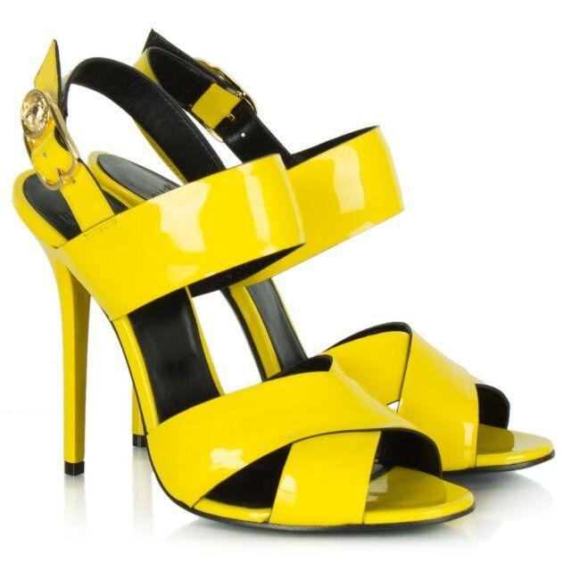 NEW VERSACE VERSUS jaune PATENT LEATHER SANDALS 38.5 - 8.5