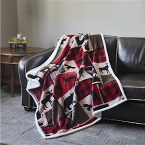 "50/""x60/"" Virah Bella LODGE LIFE Flannel Sherpa Throw Blanket"