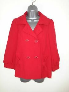 WOMENS-ATMOSPHERE-RED-BUTTON-UP-DOUBLE-BREASTED-SMART-WINTER-COAT-JACKET-UK-12