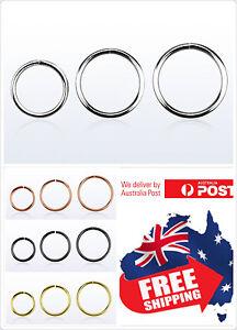 925 Sterling Silver Seamless Hoop Ring 22g 20g 18g 16g Nose Ear Lip Piercing 1pc