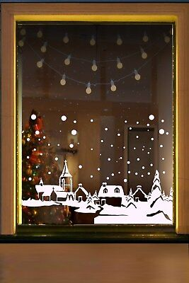 Snow Country Scene Window Decal cling sticker Christmas winter decorations XMAS