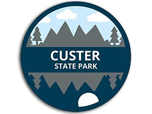 4x4 inch Round Blue Artsy Custer State Park Sticker sd Black Hills National