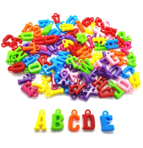100 pcs Mix ABC assorted alphabet letters charms beads findings mix colors