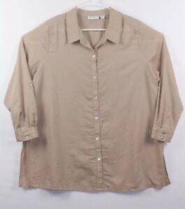 Susan-Graver-Women-039-s-Linen-Blouse-Button-Down-Roll-Tab-Sleeve-Top-Brown-Size-20W