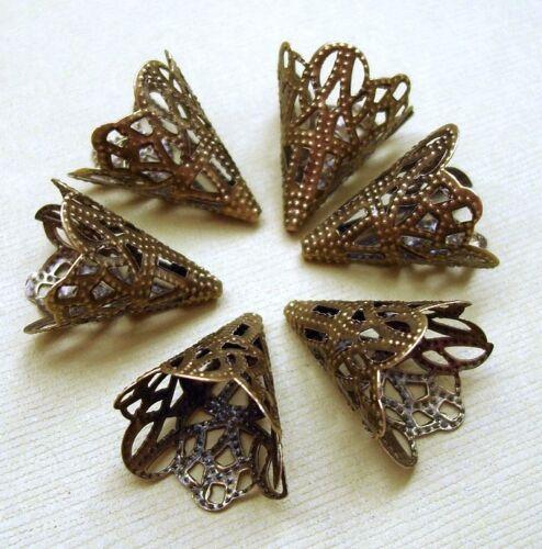 20X17mm. 20pcs-Antiqued Bronze Filigree Cone Bead Cap Beadcaps