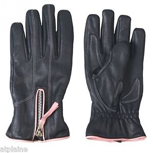 Gants-moto-cuir-double-PINK-PIPING-Taille-XL