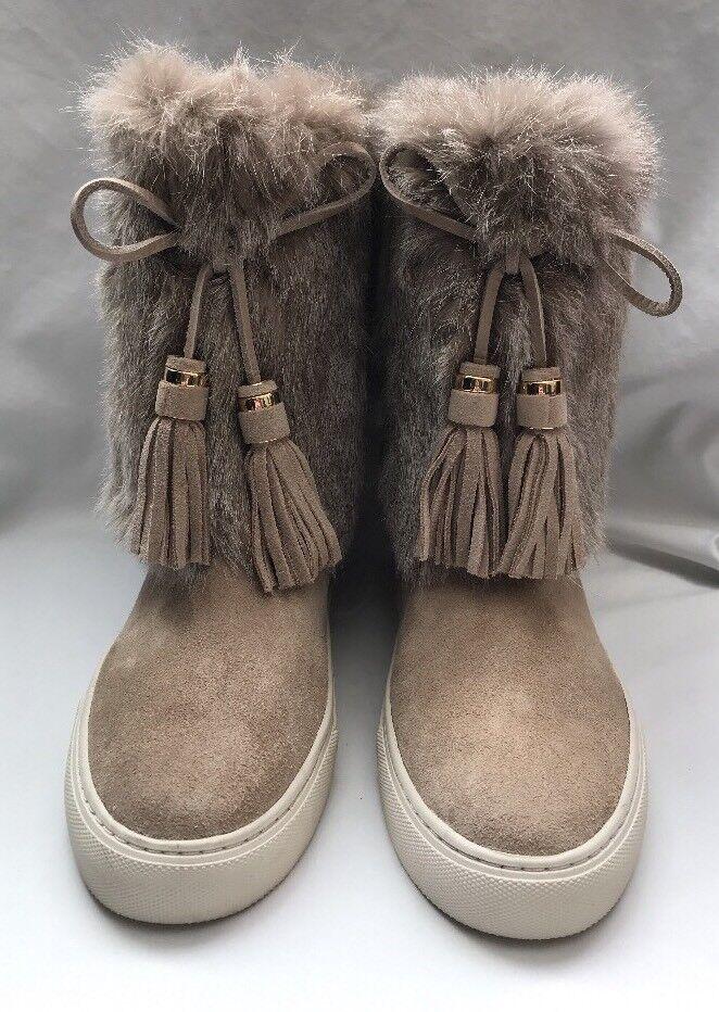 Tory Burch Anjelica Fur-Cuff Boot, Dark Knot in Beige - Size 6M Brand New!
