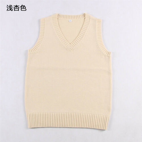 Japanese School Student JK Uniform Vest Girls Sleeveless V-Neck Knited Sweater A