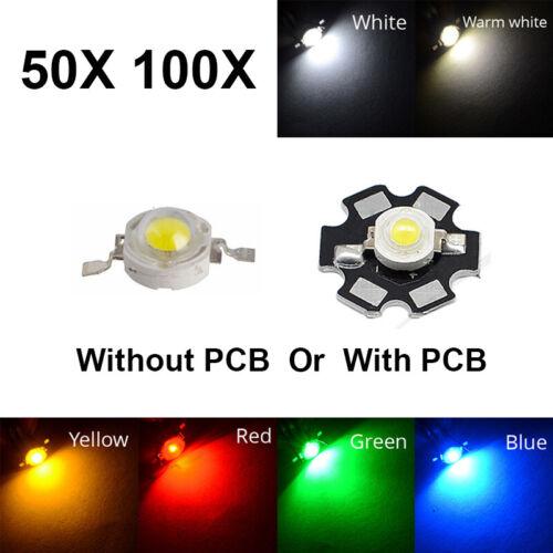 50 100pcs LED COB Chip 3W White Red Blue Yellow watts Light Beads High Power
