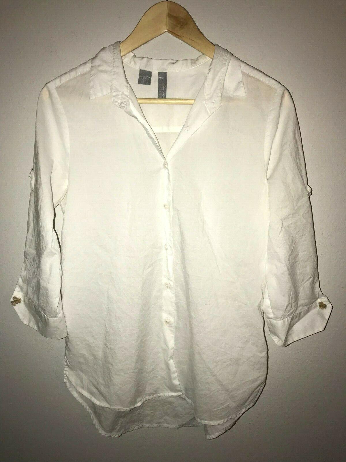 Women's Sibel Saral 100% Cotton White Button Up Blouse - Size XS
