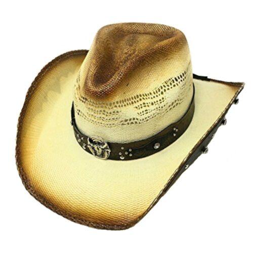 Bullhide hats CAPPELLO in paglia cappello Sun con pelle sotto tesa Cavallo Equitazione
