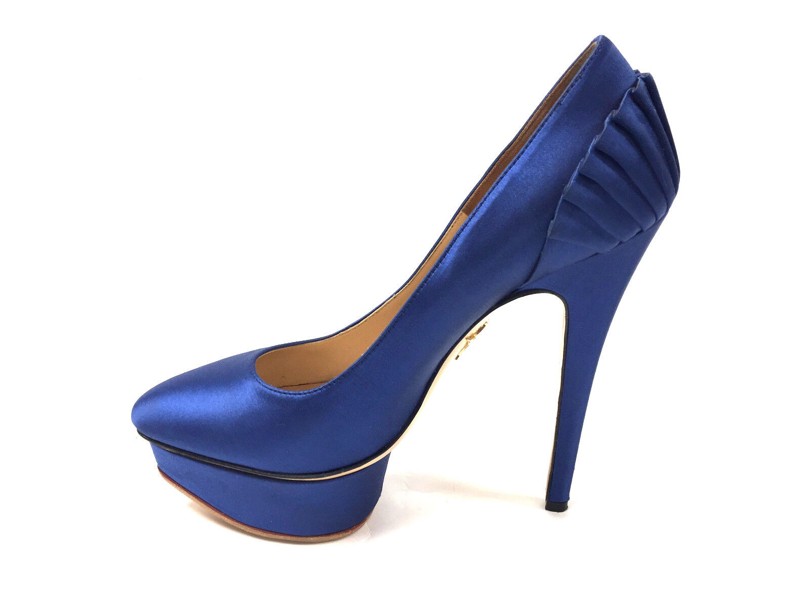 CHARLOTTE CHARLOTTE CHARLOTTE OLYMPIA Royal -blå Silk Stiletto Heel Platform Pumpar Sz37.5  online shopping och modebutik