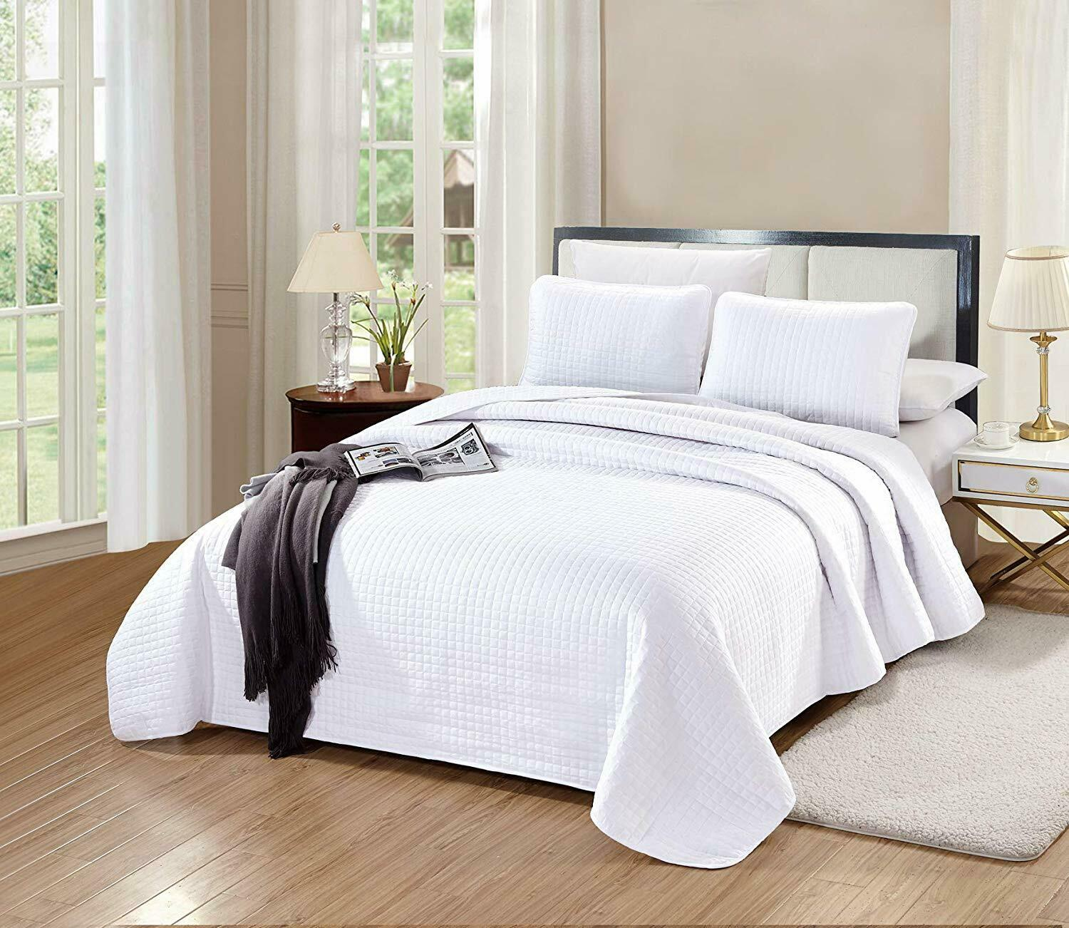 3 PC Florence Quilt Set Solid White Microfiber KING Size Coverlet Bedspread