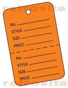 200 Sml Price Hang Tags without strings ORANGE 2-part