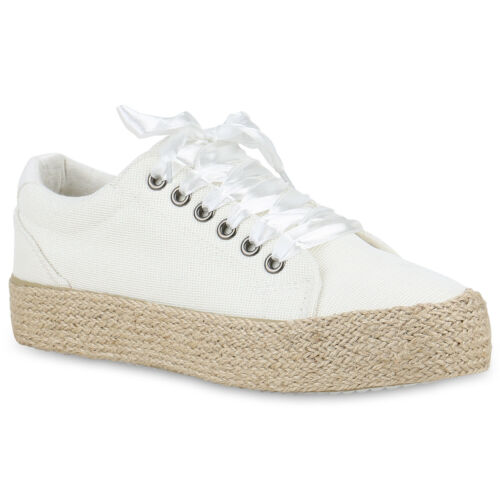 Damen Plateau Sneaker Bast Satin-Optik Schnürer Turnschuhe Glitzer 899875 Hot