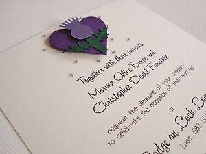 Personalised Handmade Scottish Thistle Wedding Invitation Sample Ebay