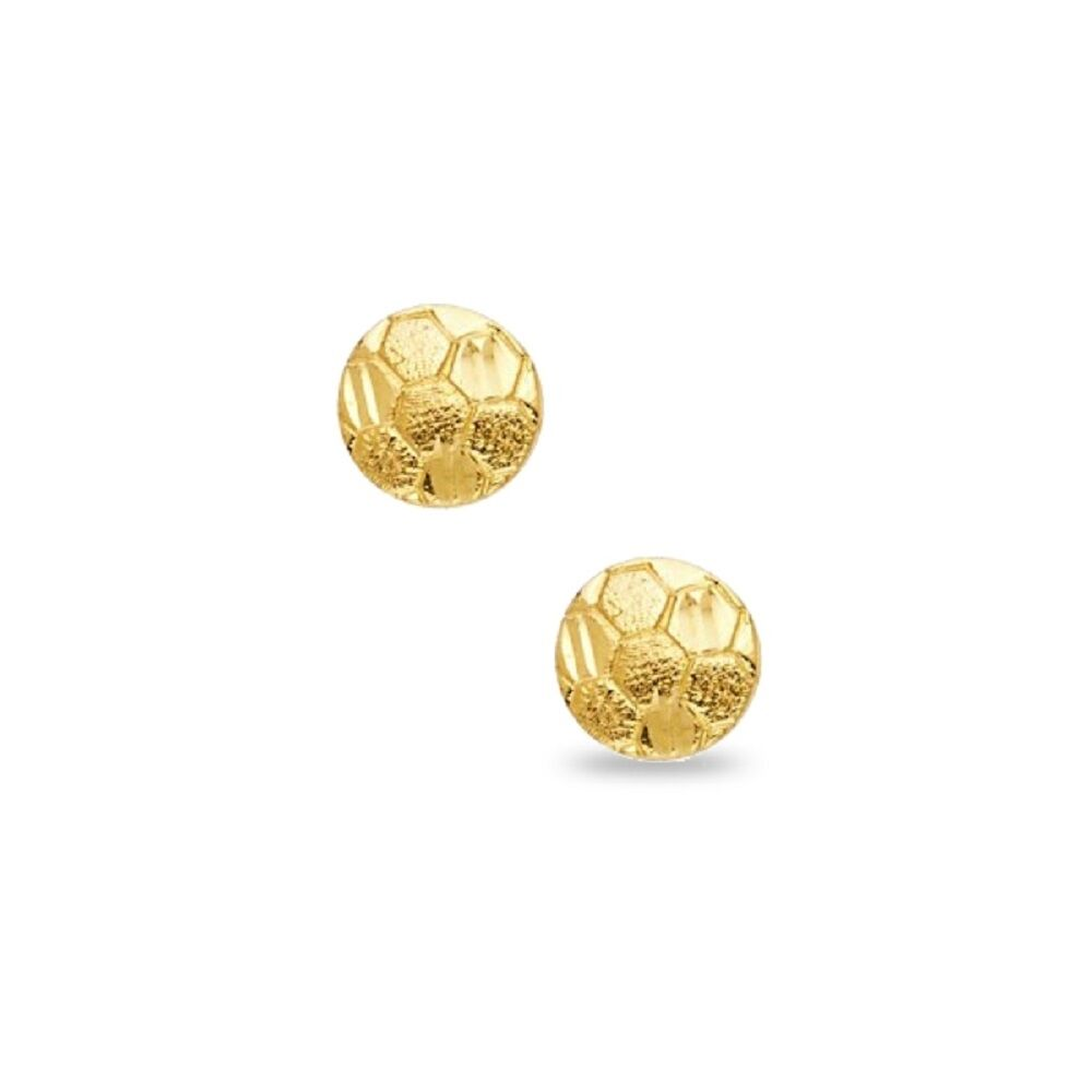 Solid 14k Yellow gold Soccer Ball Stud Earrings Round Sports Ball Post Studs