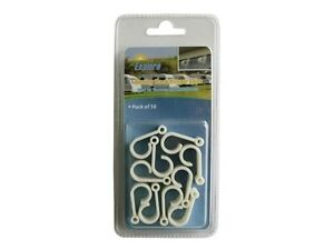 10-pack-USA-RV-awning-rail-hooks-light-cord-acessory-white-plastic-clips-holders