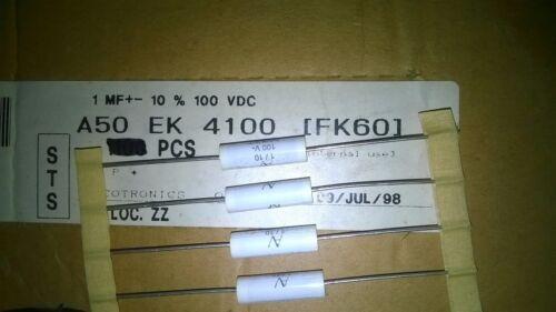 Arcotronics A50EK4100FK60K 1uF 100V 10/% Axial Metal Polyester Film Capacitors