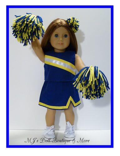 Royal Blue /& Gold Cheerleader Set fits American Girl Doll