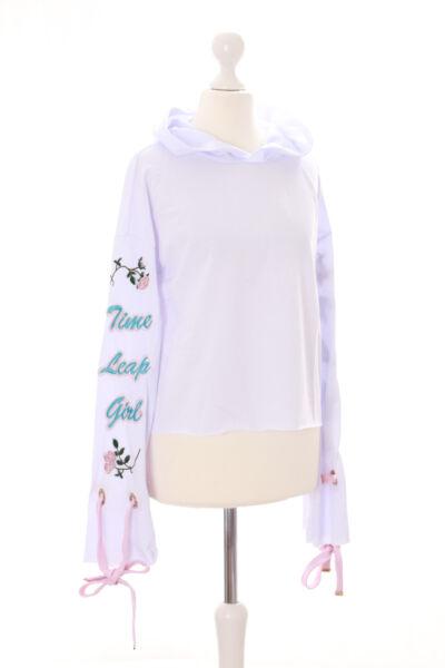 TS-93-1 Weiß Rosen bestickt Pastel Goth Lolita Kapuzen-Pullover Sweatshirt