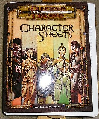 Dungeons Dragons Character Spell  Magic Items Sheets 2000 ed. plus many copies