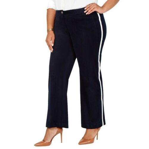 TOMMY HILFIGER NEW Women/'s Plus Size Velvet Varsity-stripe Casual Pants TEDO