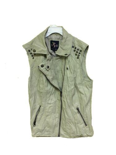 Papaya Biker sans manches Veste avec pour cuir femmes poches en qnSFSZ
