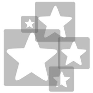 5x Reusable Plastic Stencils Nursery Kids Template Star #2 34x34cm To 9x9cm