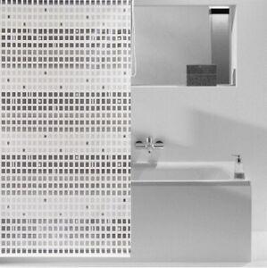 Details zu ACUS Duschrollo Duschvorhang grau weiß Quadrate B x H 140 x  240cm Badezimmer
