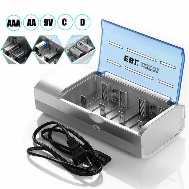 EBL Universal LCD Battery Charger Rechargeable AA//AAA C D 9V Ni-MH Ni-CD 4 Slot