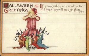 Halloween-Little-Witches-Dance-Around-Girl-Series-63D-c1910-Postcard-jrf