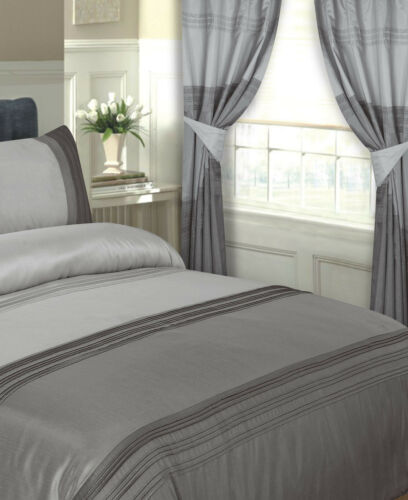 """LUXURY SILVER CHARCOAL DUCK EGG FAUX SILK EYELET READY MADE CURTAINS 66/"""" X 72/"""""""