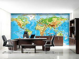 3d world map picture painting wall paper print decal wall deco image is loading 3d world map picture painting wall paper print gumiabroncs Gallery