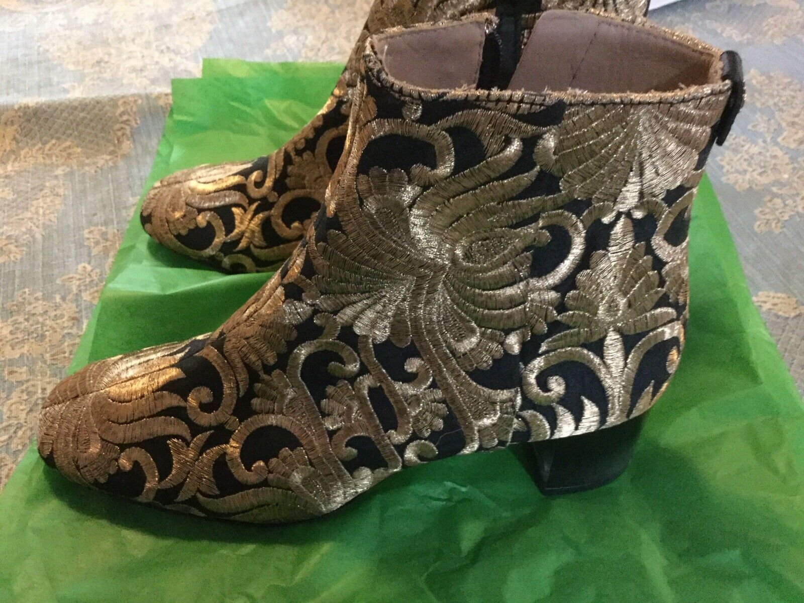 Tory Burch sz 5.5 medium gold/black ankle boot 2 in heel with side zipper new!