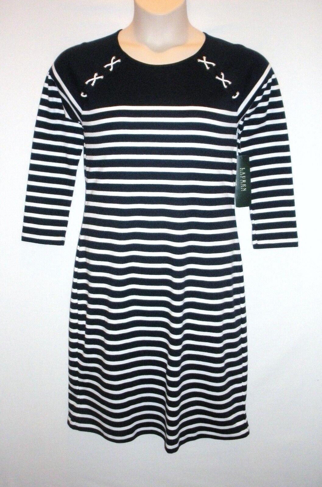 NWT MSRP  125  LAUREN RALPH LAUREN Women's Striped Knit Dress, Navy White, SMALL