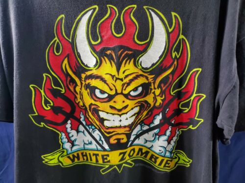 XL RARE !! WHITE ZOMBIE Vintage Original T-SHIRT R