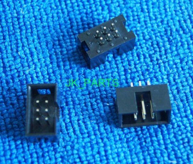 10pcs 2.54mm 2x3 Pin 6 Pin Straight Male Shrouded header IDC Socket
