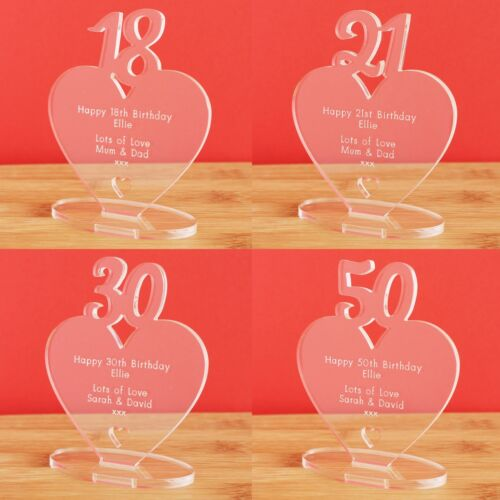 Personalised Heart Birthday Gift 13th 16th 18th 21st 30th 40th 50th 60th 70th 80