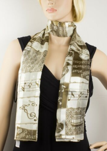 Music Musical Note and Instrument Print Scarf Wrap Shawl Soft Silky Satin Stripe